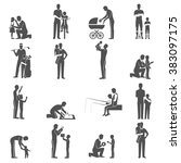 black fatherhood icons flat set ... | Shutterstock . vector #383097175