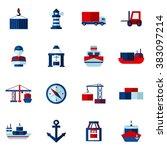 seaport flat icons set  | Shutterstock . vector #383097214