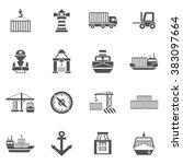 seaport black icons set | Shutterstock . vector #383097664