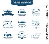 perfect set of seafood logos.... | Shutterstock .eps vector #383099191