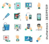 digital health icons flat set | Shutterstock . vector #383099509