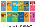 creative calendar 2018 wiith... | Shutterstock .eps vector #383102479