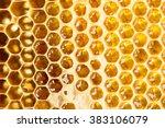 Sweet Fresh Honey In Honeycomb...