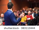 public speaker giving talk at... | Shutterstock . vector #383113444