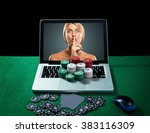 casino chips and cards on... | Shutterstock . vector #383116309