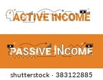 active and passive income word... | Shutterstock .eps vector #383122885