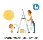 father and son kid child boy...   Shutterstock .eps vector #383124001