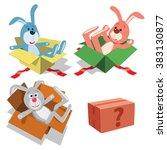 teddy rabbits in gift boxes.... | Shutterstock .eps vector #383130877