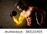 muscular bodybuilder lifting... | Shutterstock . vector #383131405