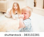 wonderful family at home. baby... | Shutterstock . vector #383132281