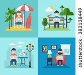 freelancer concept. working on... | Shutterstock .eps vector #383138449