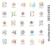 set of vector linear logotypes  ... | Shutterstock .eps vector #383140081