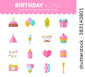 festive birthday flat icons set ... | Shutterstock .eps vector #383143801
