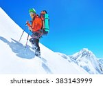 hiker on the trek in himalayas | Shutterstock . vector #383143999