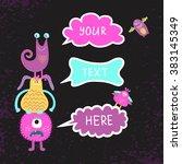 cute monsters background....   Shutterstock .eps vector #383145349