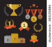 trophy and awards icons set.... | Shutterstock . vector #383150884
