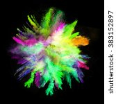 explosion of colorful powder ... | Shutterstock . vector #383152897