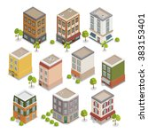 isometric city buildings set.... | Shutterstock .eps vector #383153401