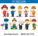 vector set of city professions... | Shutterstock .eps vector #383156725