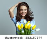 beautiful girl in the blue... | Shutterstock . vector #383157979