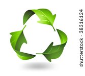 recycle symbol with green leaves | Shutterstock .eps vector #38316124