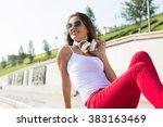 teenager girl having time in... | Shutterstock . vector #383163469