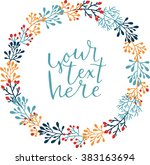 plant wreath with inscription.... | Shutterstock .eps vector #383163694