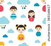 kids wall paper pattern. color... | Shutterstock .eps vector #383168617