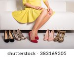 woman sitting on couch  and...   Shutterstock . vector #383169205