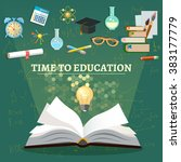 time to education open book... | Shutterstock .eps vector #383177779