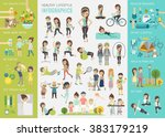 healthy lifestyle infographic... | Shutterstock .eps vector #383179219