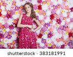 portrait of fashion beautiful... | Shutterstock . vector #383181991