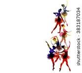 ballerina dancing. watercolor.... | Shutterstock .eps vector #383187034