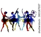 ballerina dancing. watercolor.... | Shutterstock .eps vector #383187037
