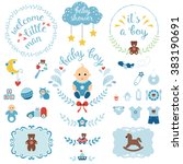 a set of cute items for newborn ... | Shutterstock .eps vector #383190691