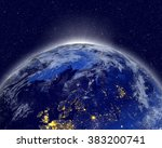 planet earth with appearing... | Shutterstock . vector #383200741