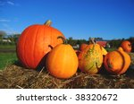 Pumpkins On Display On Bales O...