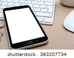 workplace with modern mobile... | Shutterstock . vector #383207734