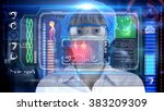 female octor with futuristic... | Shutterstock . vector #383209309
