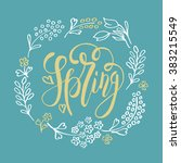 hand sketched spring text as... | Shutterstock .eps vector #383215549