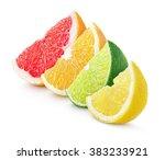 sliced colorful citrus fruit  ... | Shutterstock . vector #383233921