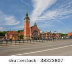 Historic railway station in Gdansk, Poland. - stock photo