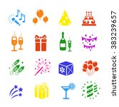 icons set holidays. party ... | Shutterstock .eps vector #383239657