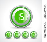 vector green timer icon set ... | Shutterstock .eps vector #383239681