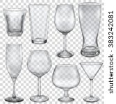 transparent empty glasses and... | Shutterstock .eps vector #383242081