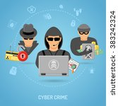 cyber crime concept with icon... | Shutterstock .eps vector #383242324