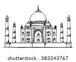 taj mahal  india hand drawn... | Shutterstock .eps vector #383243767