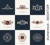 luxury logos monogram. vintage... | Shutterstock .eps vector #383247109