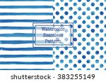 set of two watercolor seamless... | Shutterstock .eps vector #383255149