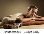 the girl relaxes in the spa... | Shutterstock . vector #383256307